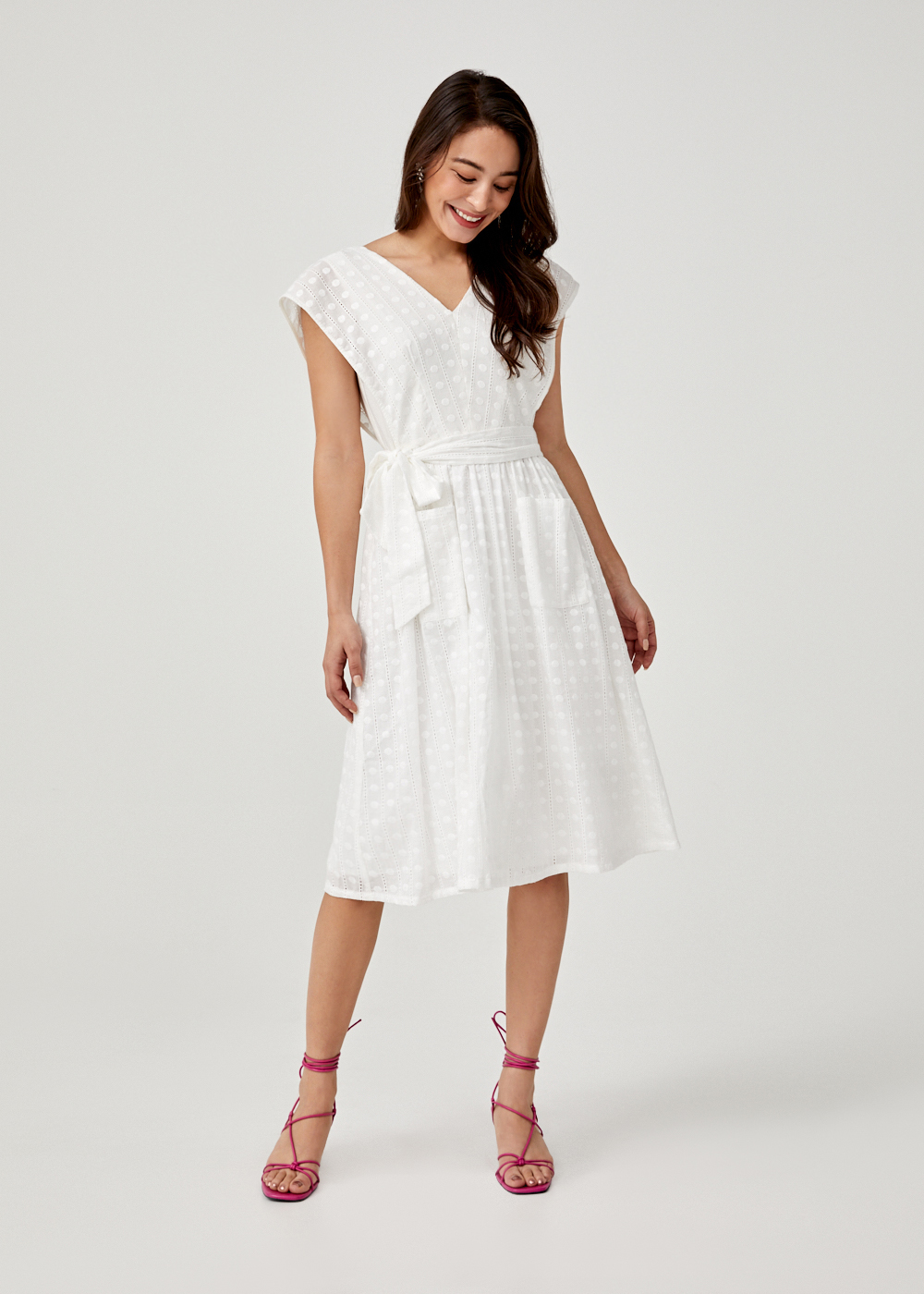 Ashtyn Broderie Anglaise Sash Tie Midi Dress