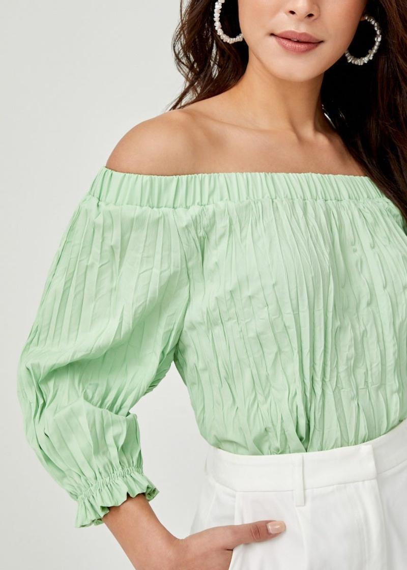 Marleigh Pleated Off Shoulder Blouse