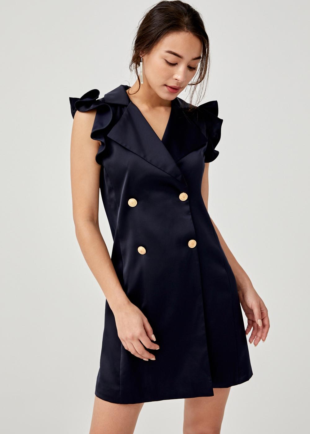 Kimia Satin V-neck Dress