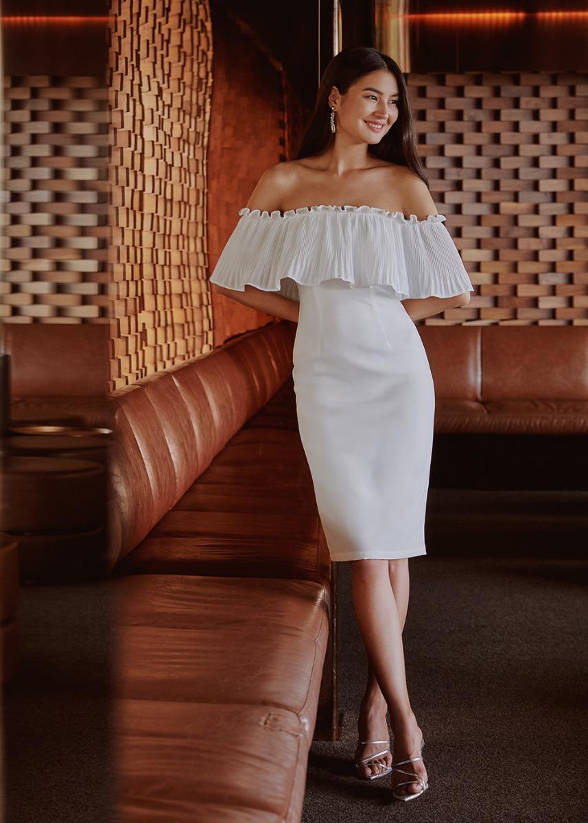 Savinah Pleated Overlay Midi Dress