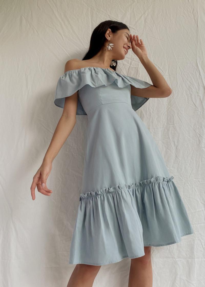 Penelope Ruffle Hem Off Shoulder Dress