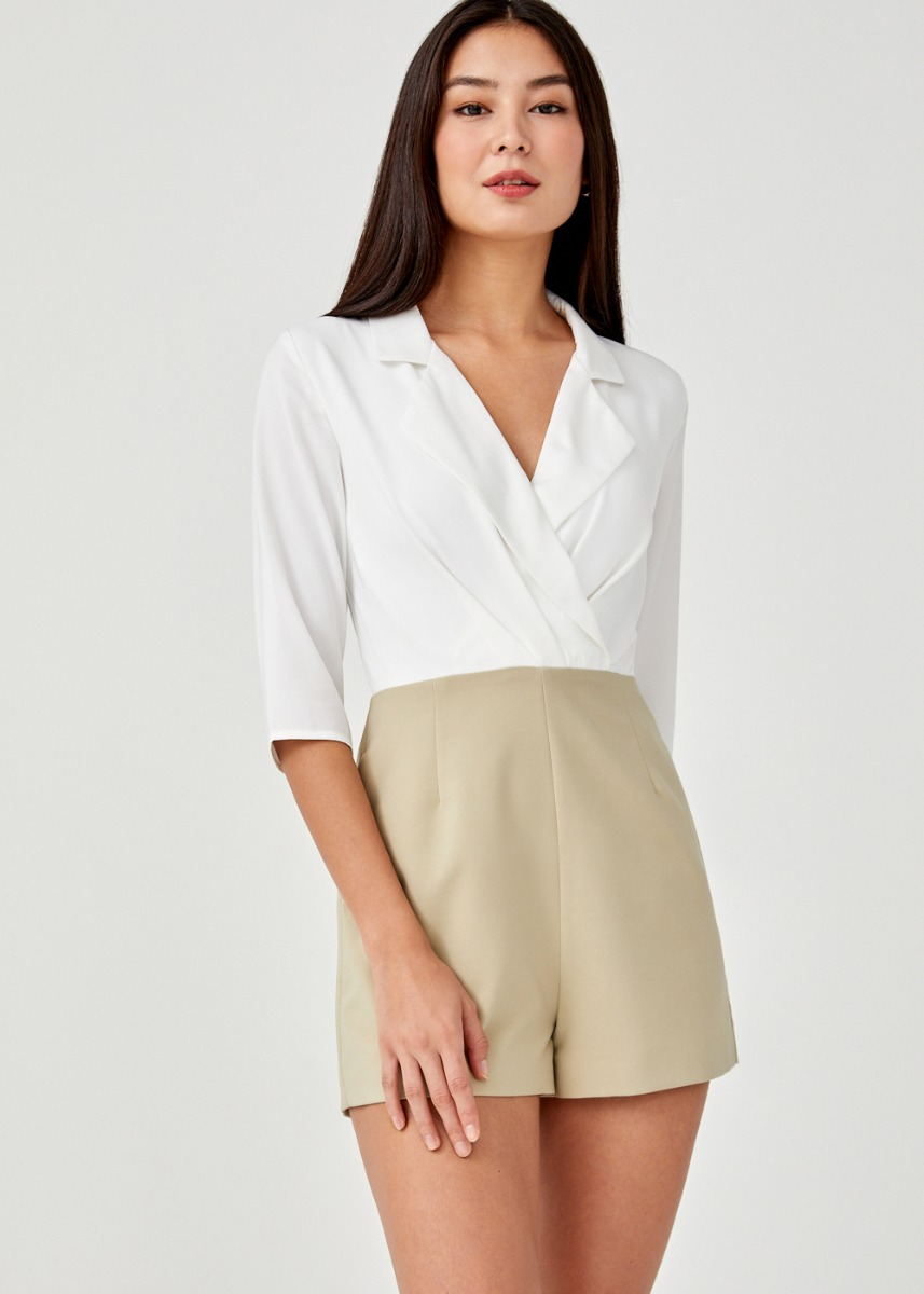 Kayle Contrast Tailored Romper