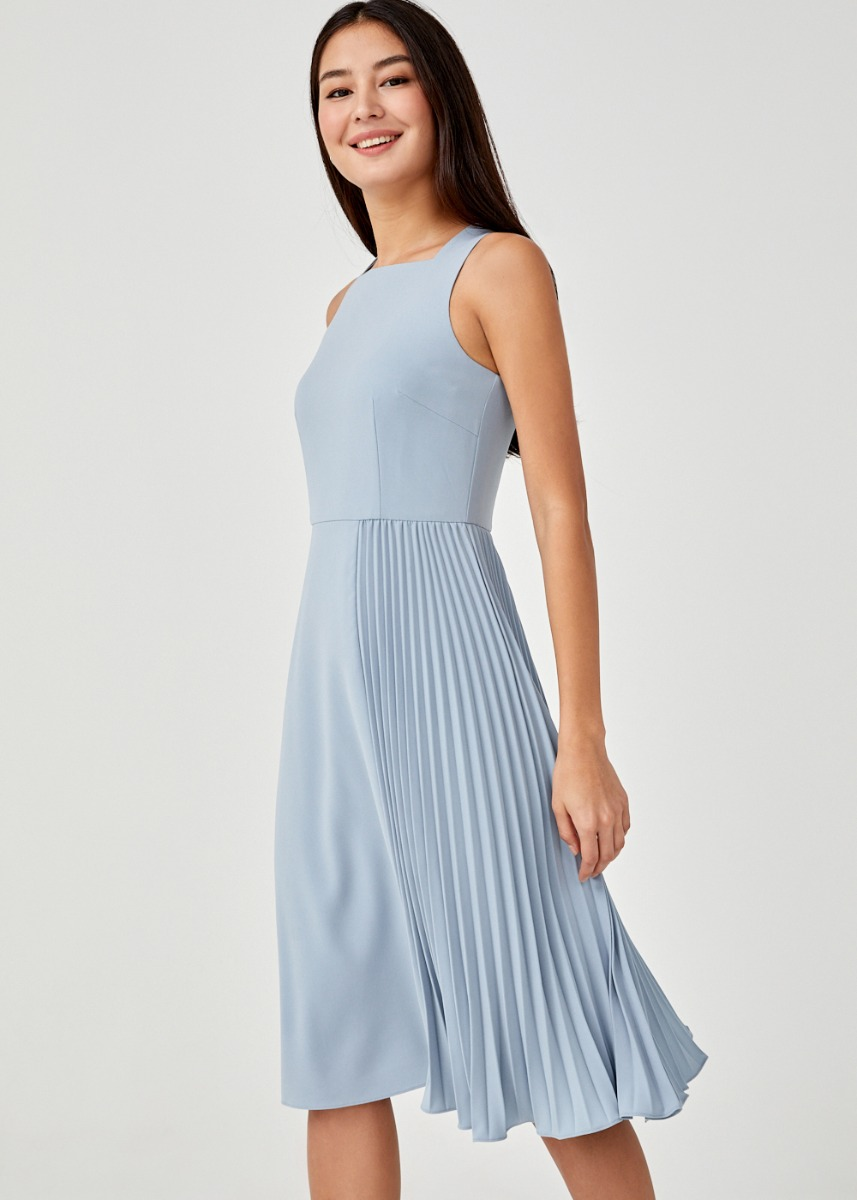 Brina Side Pleated Midi Dress