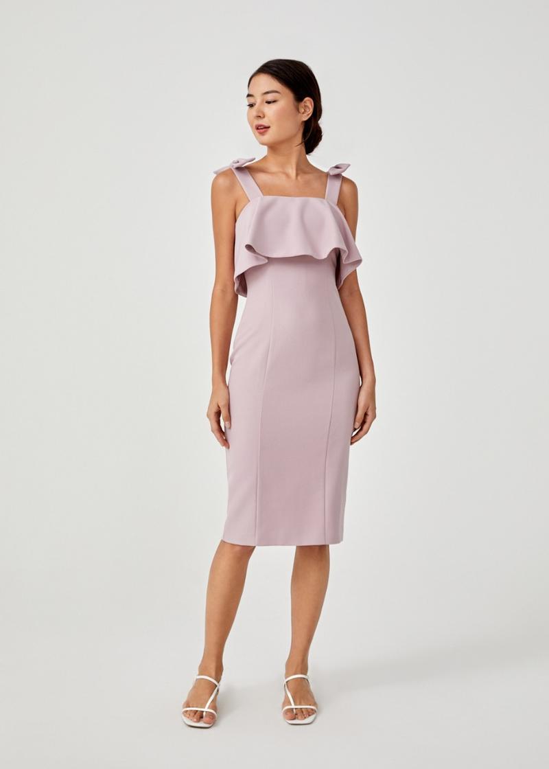Alliea Bow Detail Overlay Midi Dress