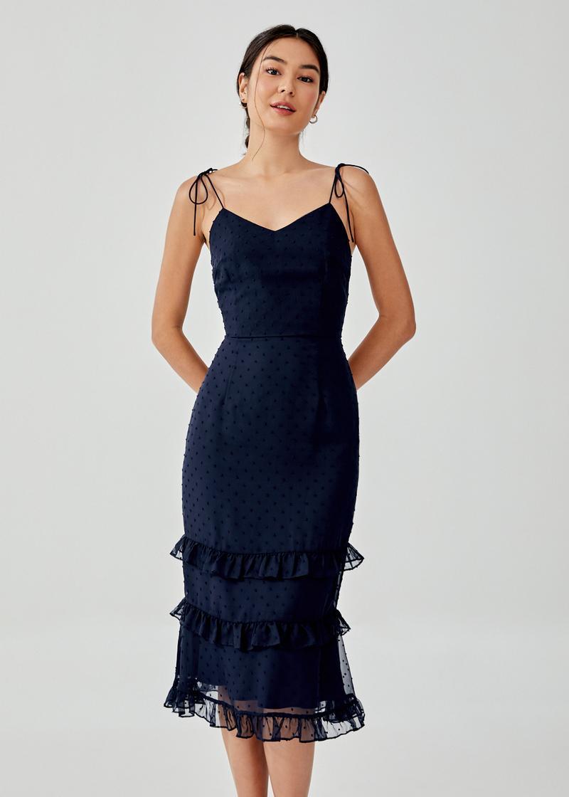 Jaenie Textured Ruffle Tiered Dress