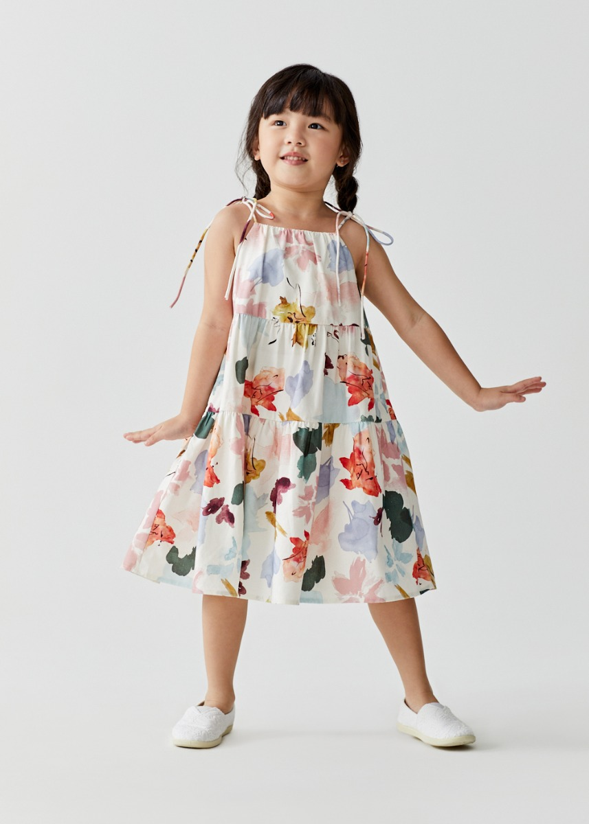 Charletta Tiered Trapeze Dress in Floral Dance