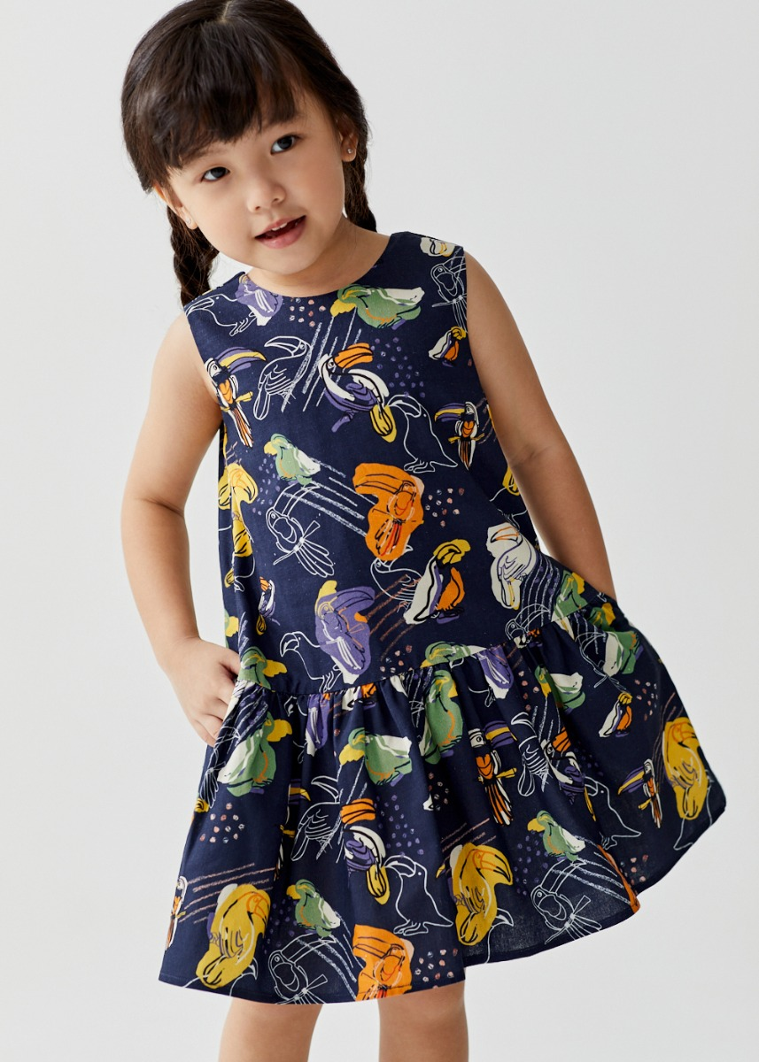 Estie Ruffle Dropwaist Dress in Toucan Paradise
