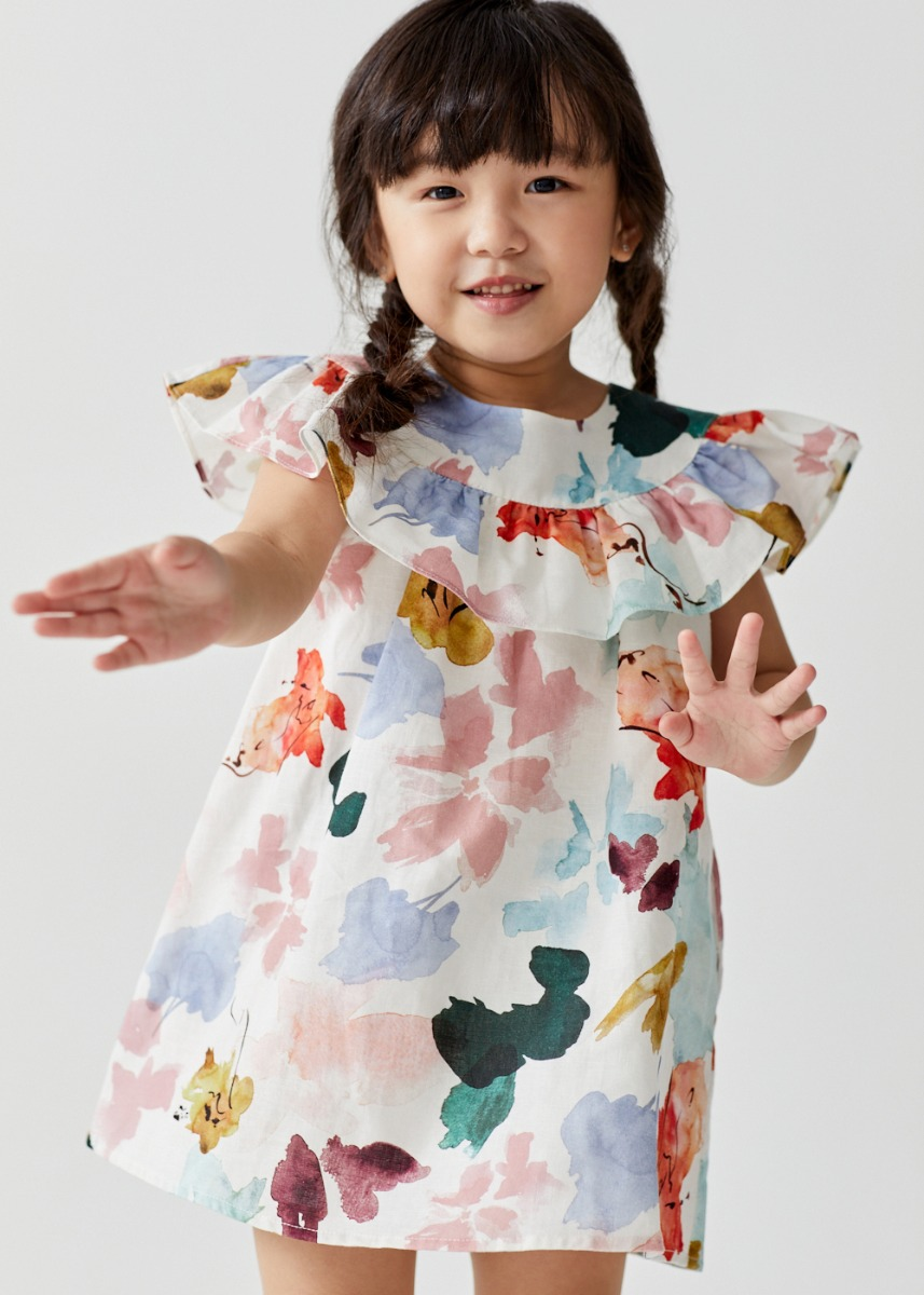 Loki Babydoll Ruffle Linen Dress in Floral Dance