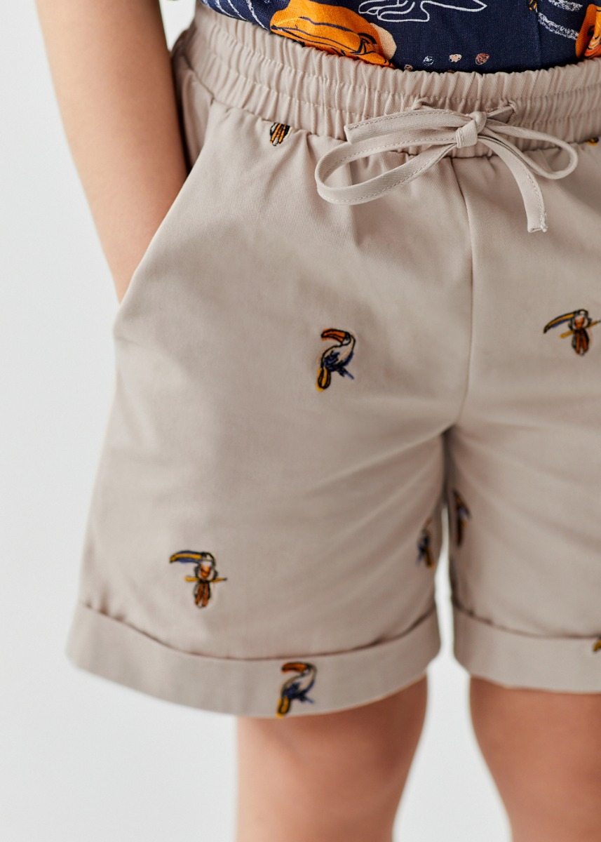 Jude Embroidered Cotton Twill Shorts in Mini Toucan