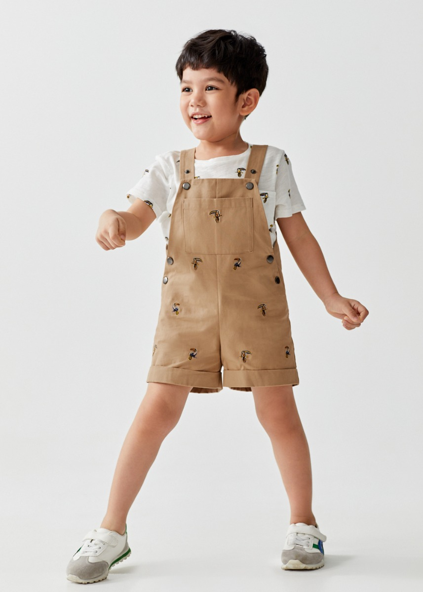 Joey Patch Pocket Cotton Twill Dungarees in Mini Toucan