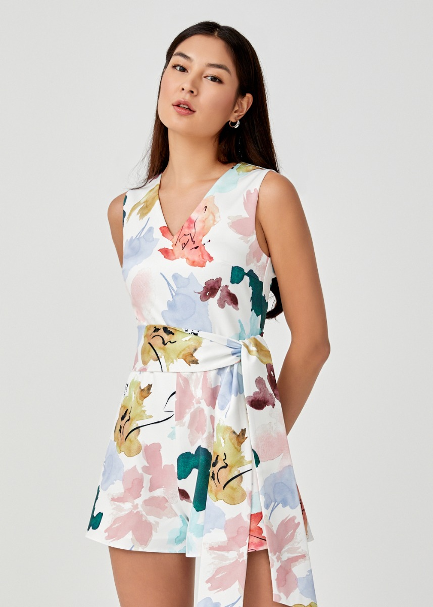 Ophelia Belted Romper in Floral Dance