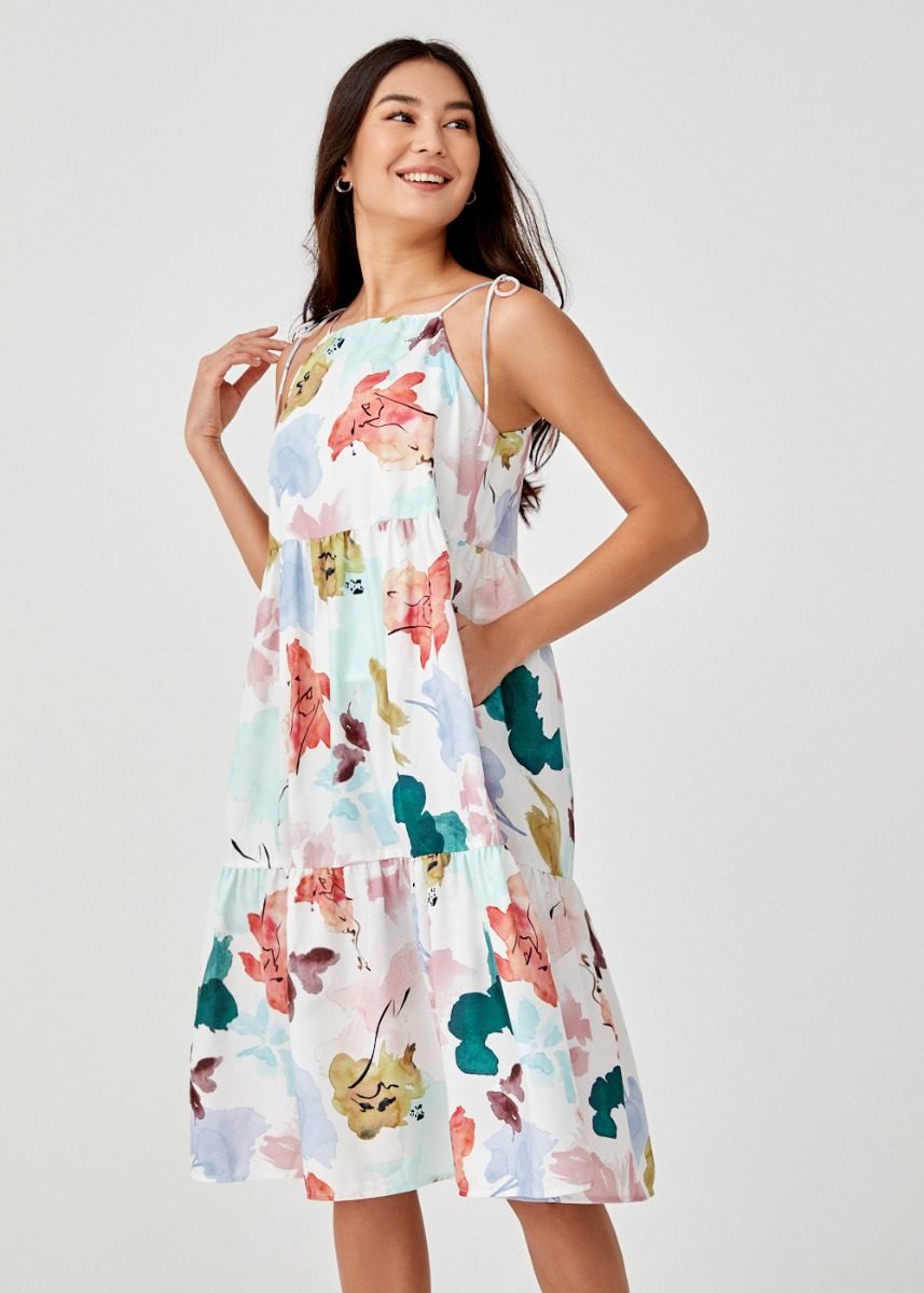 Willow Tiered Trapeze Dress in Floral Dance