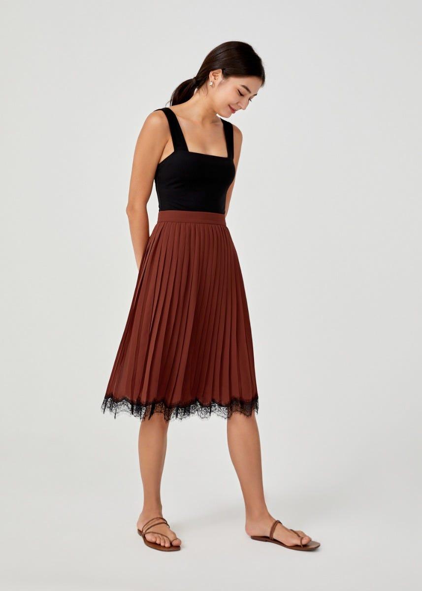 Rebecca Lace Trim Pleated Midi Skirt