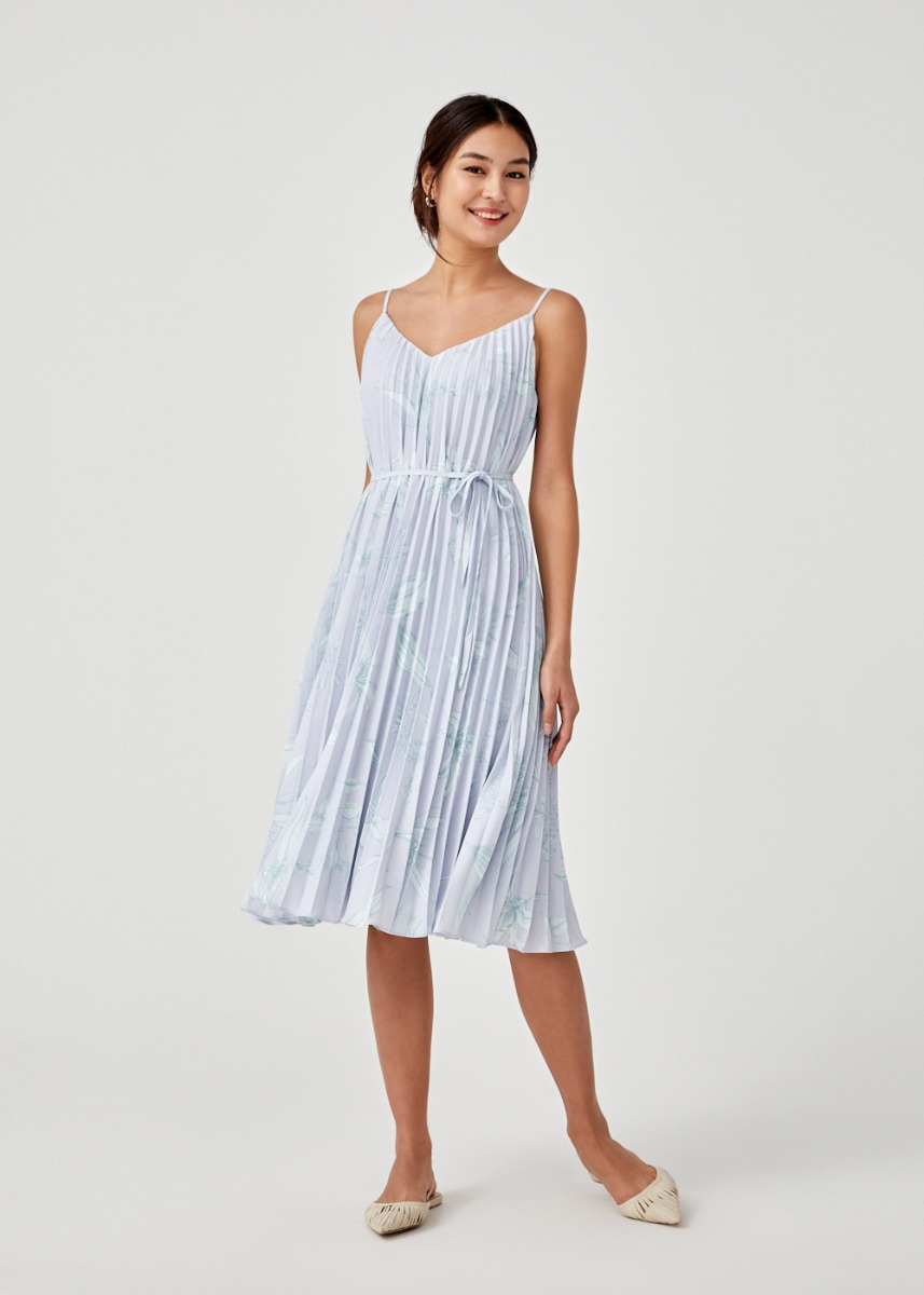 Harika Pleated String Tie Camisole Midi Dress in Floral Flutter