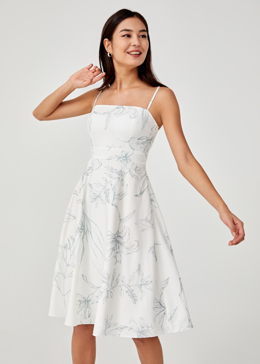 Kyla Camisole Midi Dress in Floral Flutter