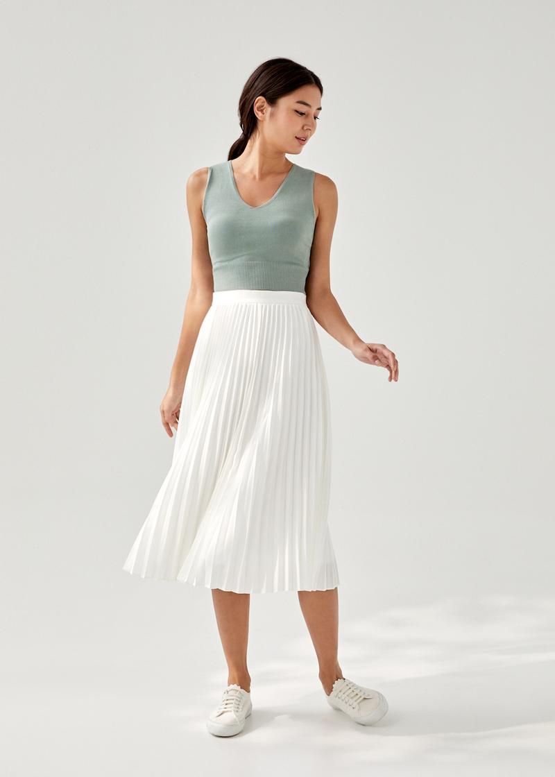 Elinie Pleated Midi Skirt