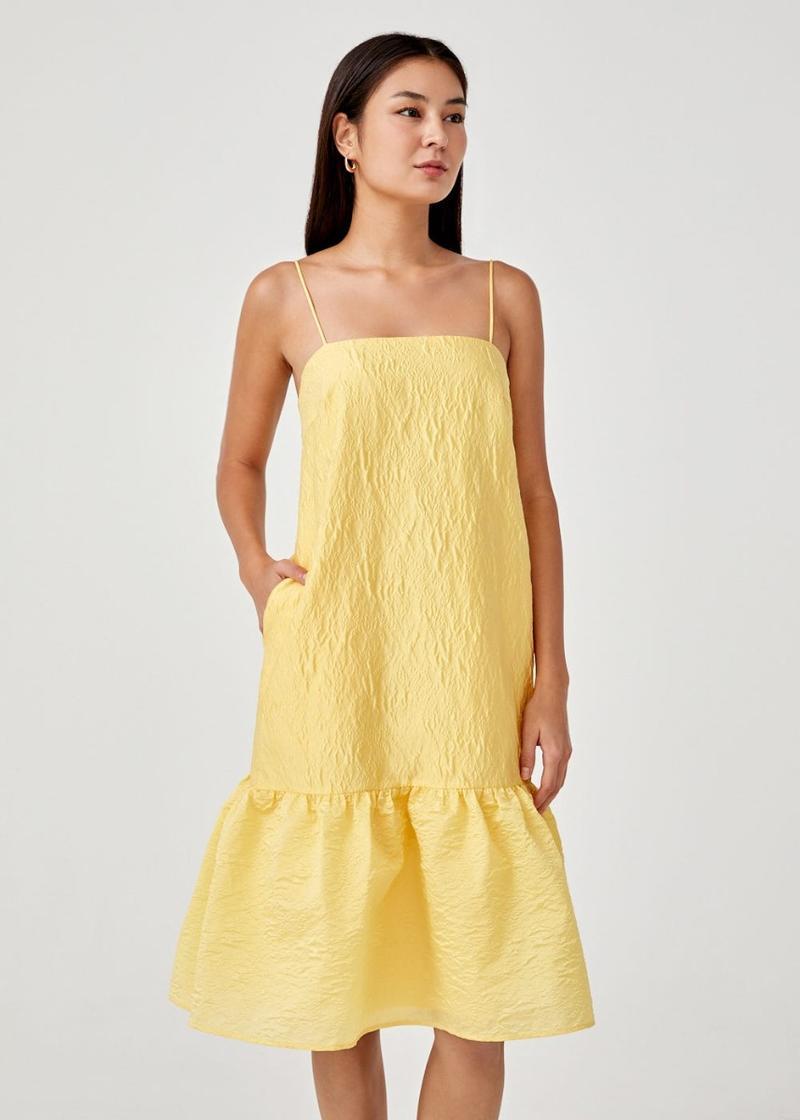 Sorsha Dropwaist Textured Midi Dress