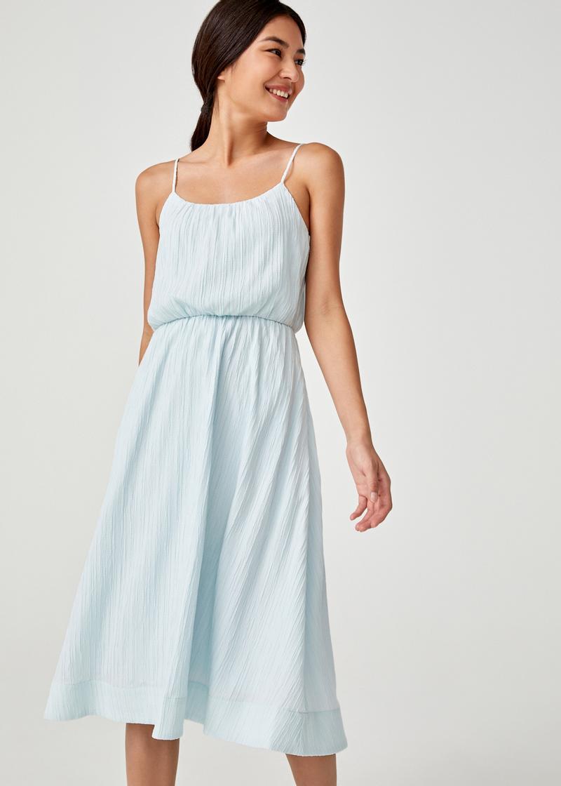 Bess Tie Back Textured Midi Dress