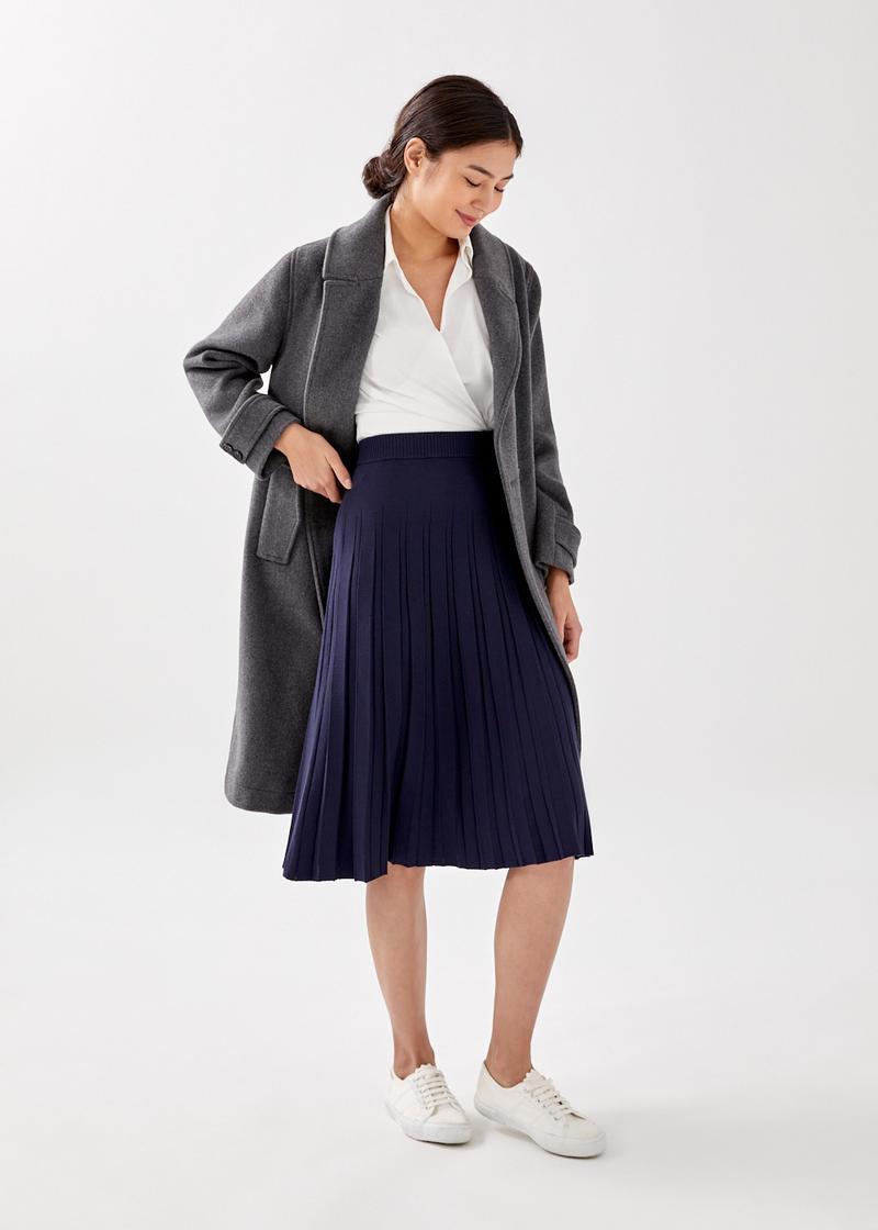 Clementina Pleated Knit Midi Skirt