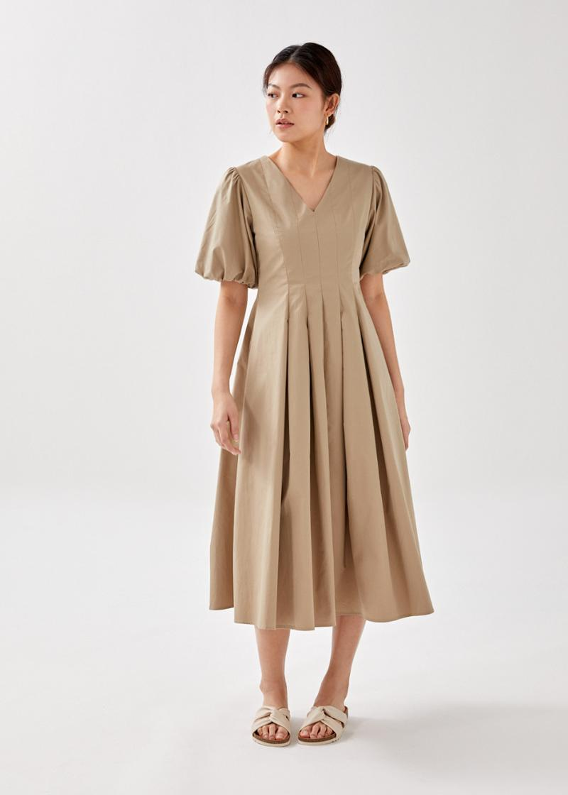Taylen Pleated Puff Sleeve Midaxi Dress