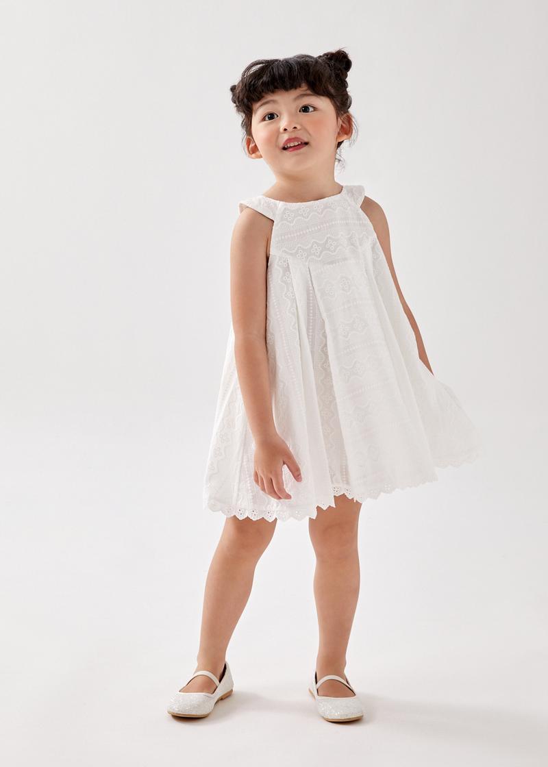 Sorrelie Pleated Broderie Swing Dress