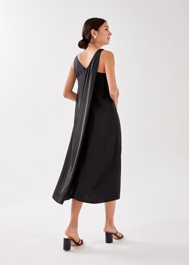 Phoebie Satin Back Overlay Maxi Dress