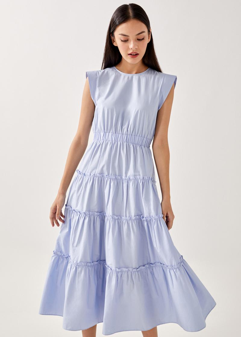 Relia Ruched Tiered Maxi Dress