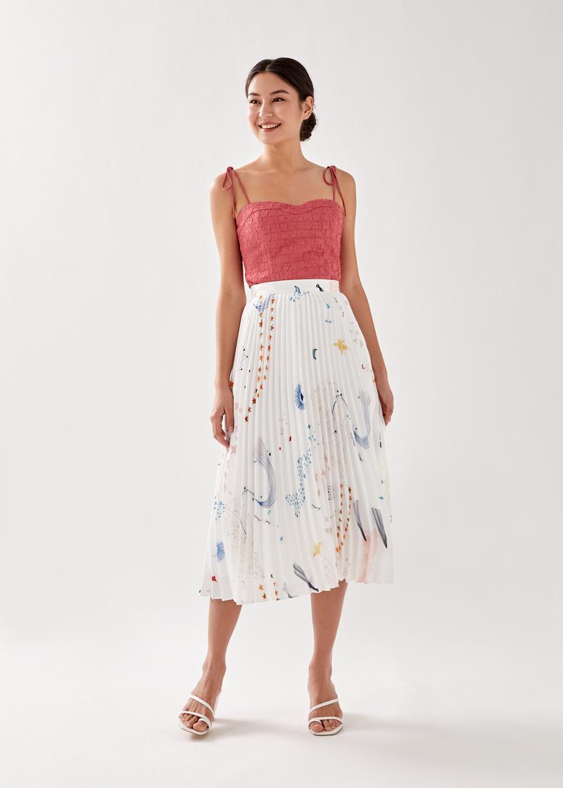 Eira Sunray Pleated Midi Skirt in Celestial Galaxy