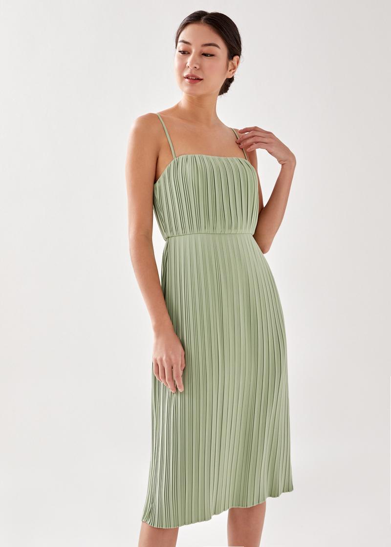Sybella Padded Pleated Camisole Midi Dress
