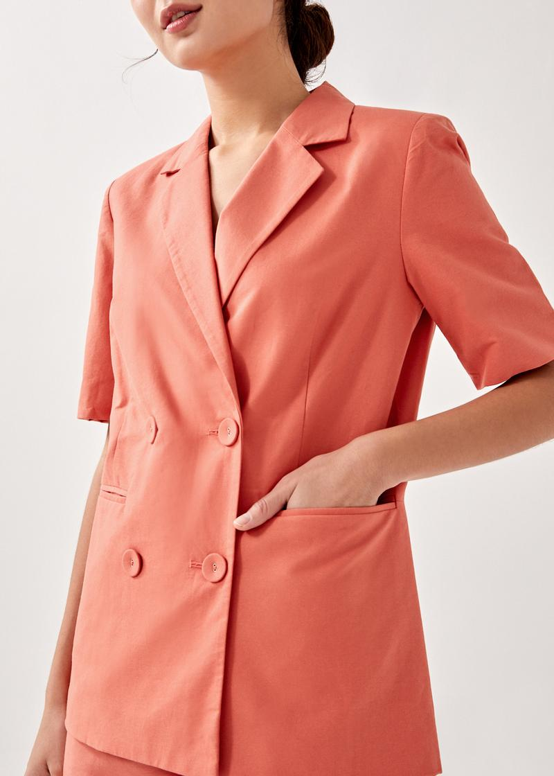 Sutton Shoulder Padded Double Breasted Blazer