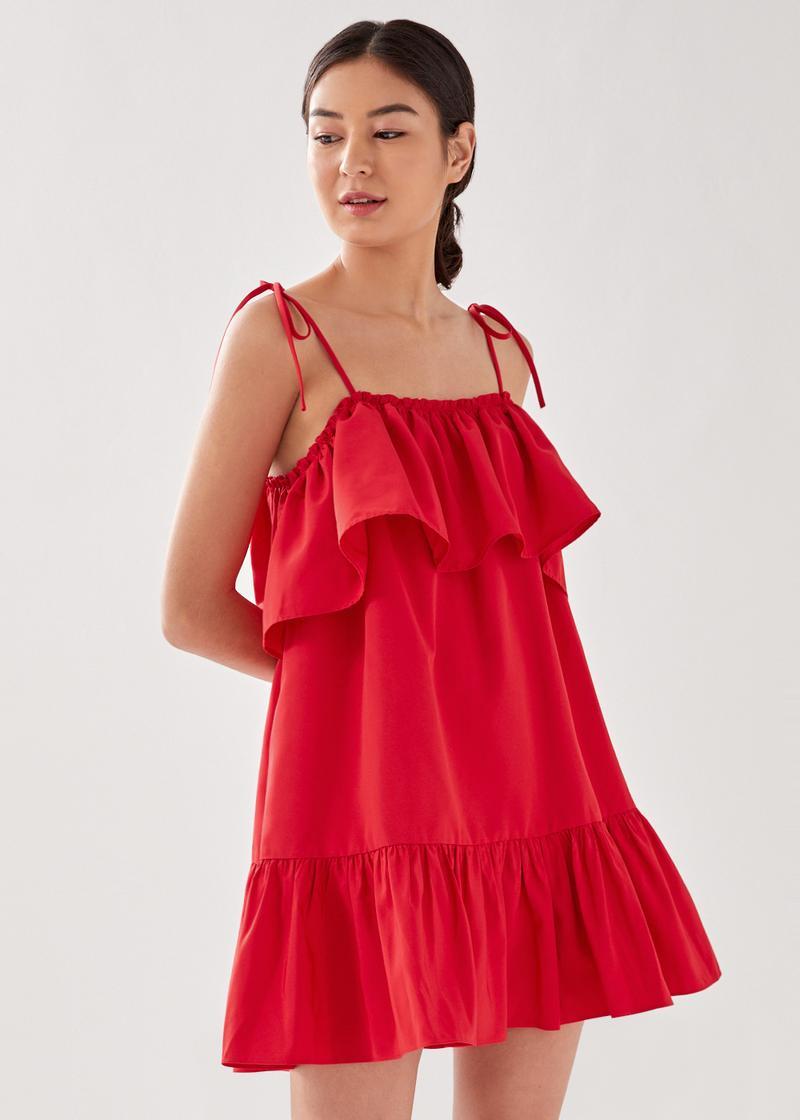Penelo Tie Shoulder Ruffle Swing Dress