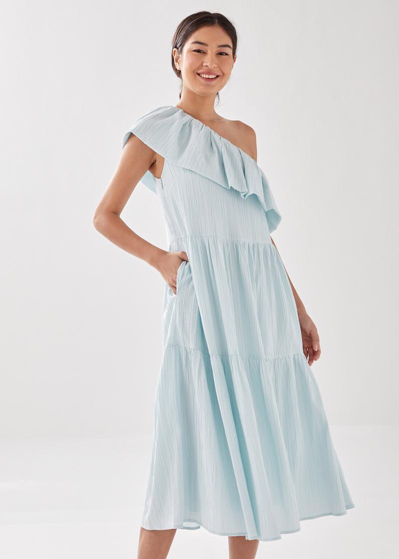Violey Off Shoulder Ruffle Midi Dress