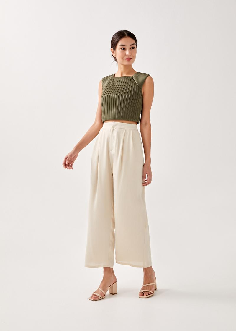 Valentina Padded Pleated Cropped Top