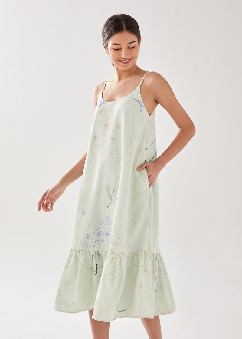 Kashoa Ruffle Hem Midi Dress in Eastern Tapestry