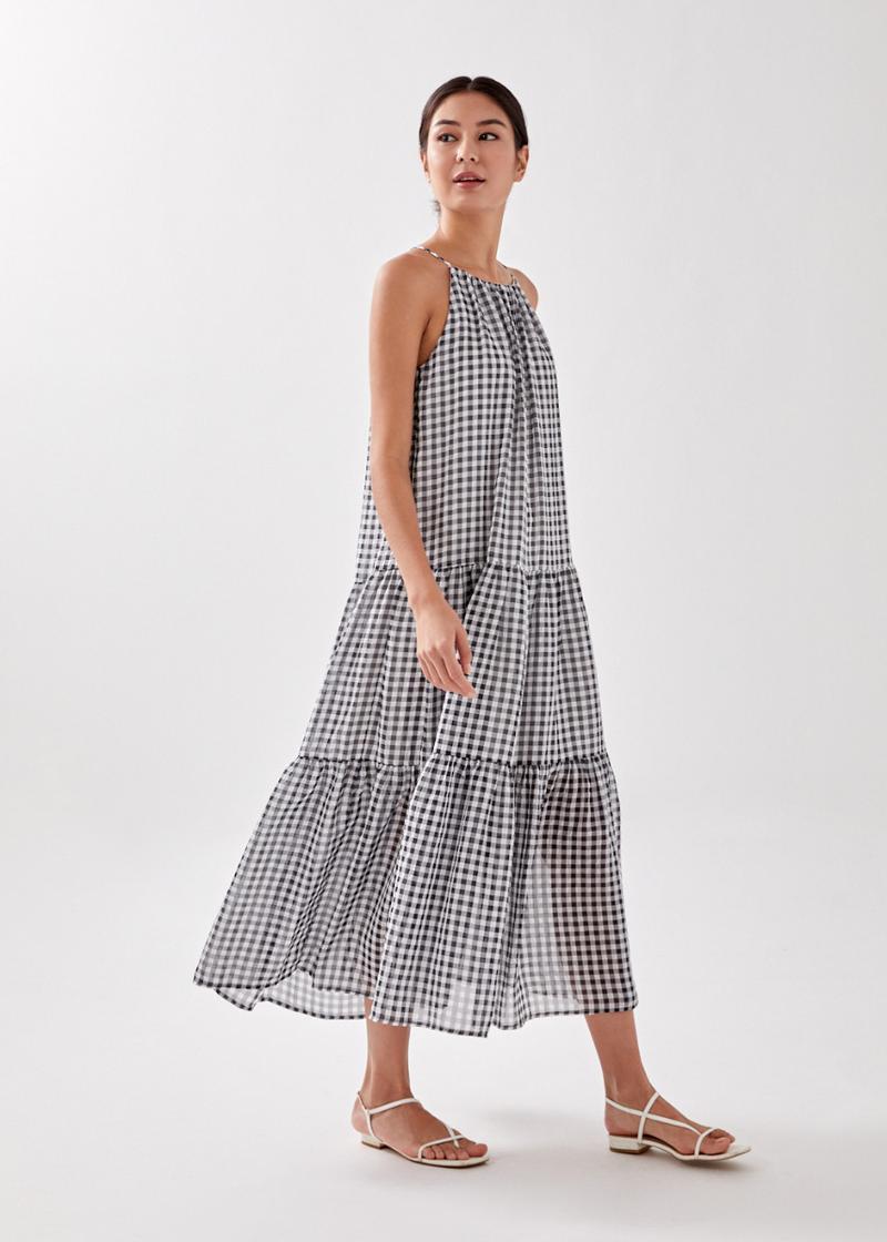 Emalynn Tiered Gingham Maxi Dress