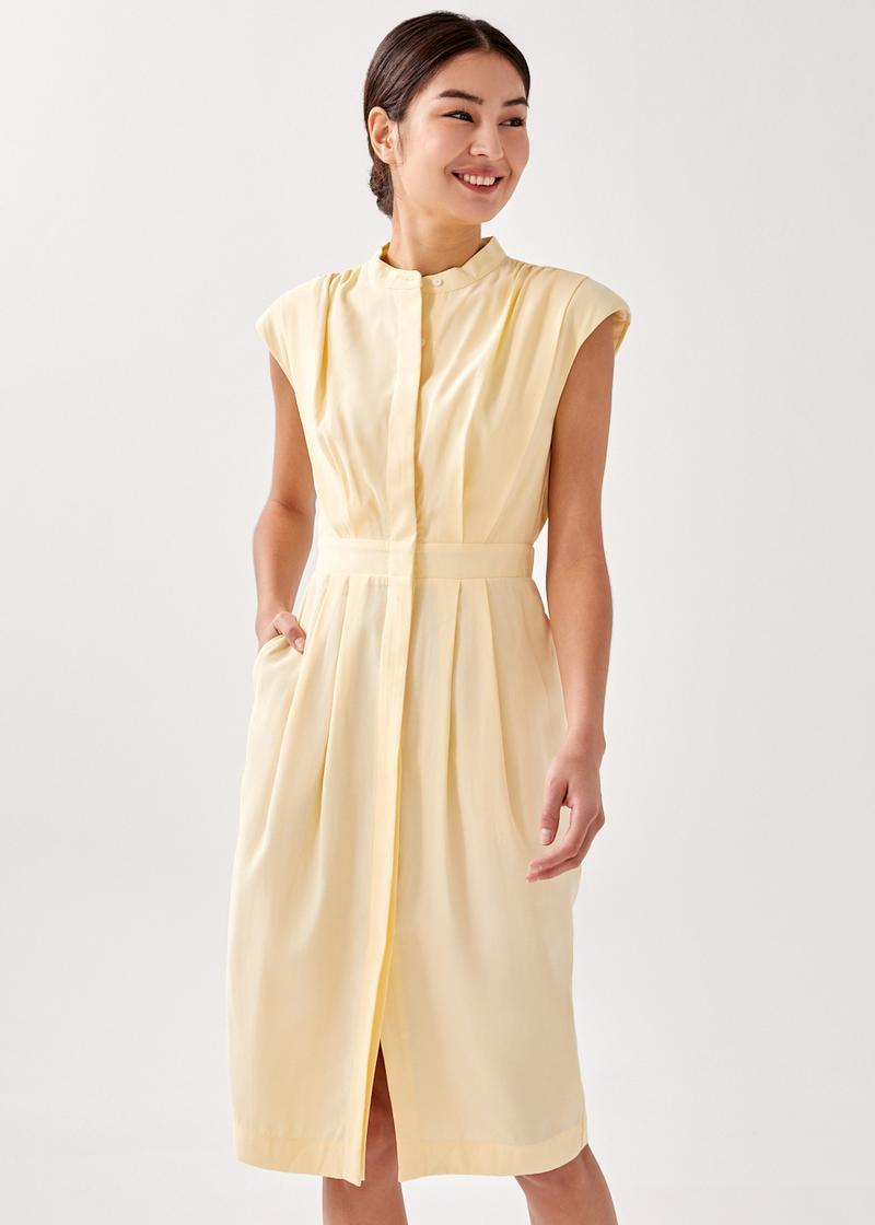 Callisto Shoulder Padded Midi Dress