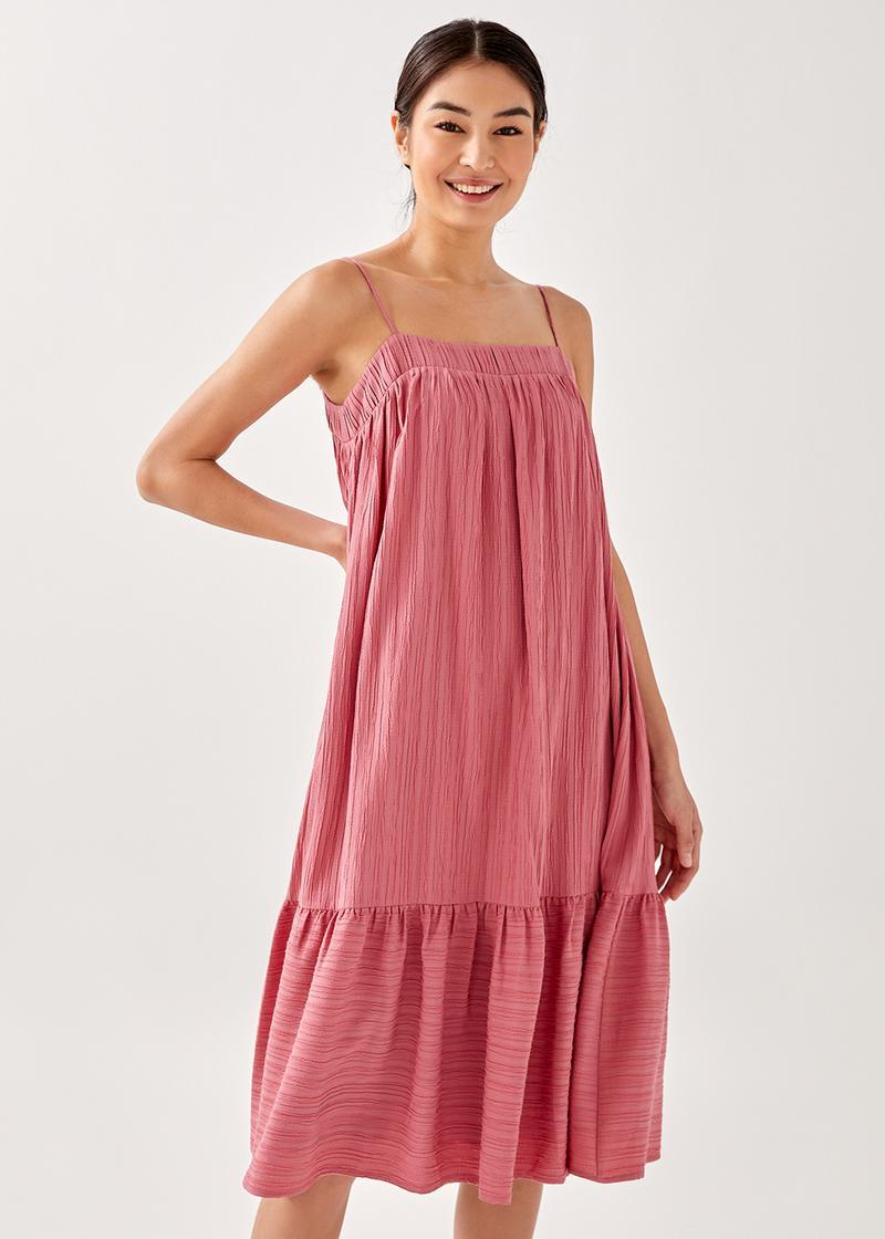 Malita Textured Ruffle Midi Dress