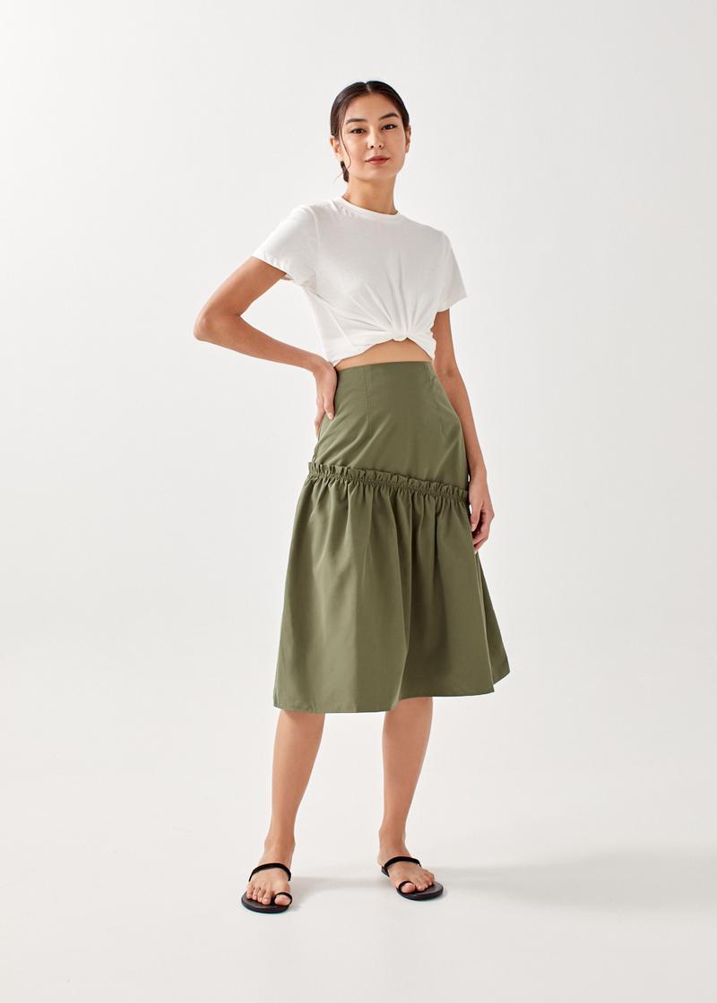 Cheriea Asymmetrical Midi Skirt