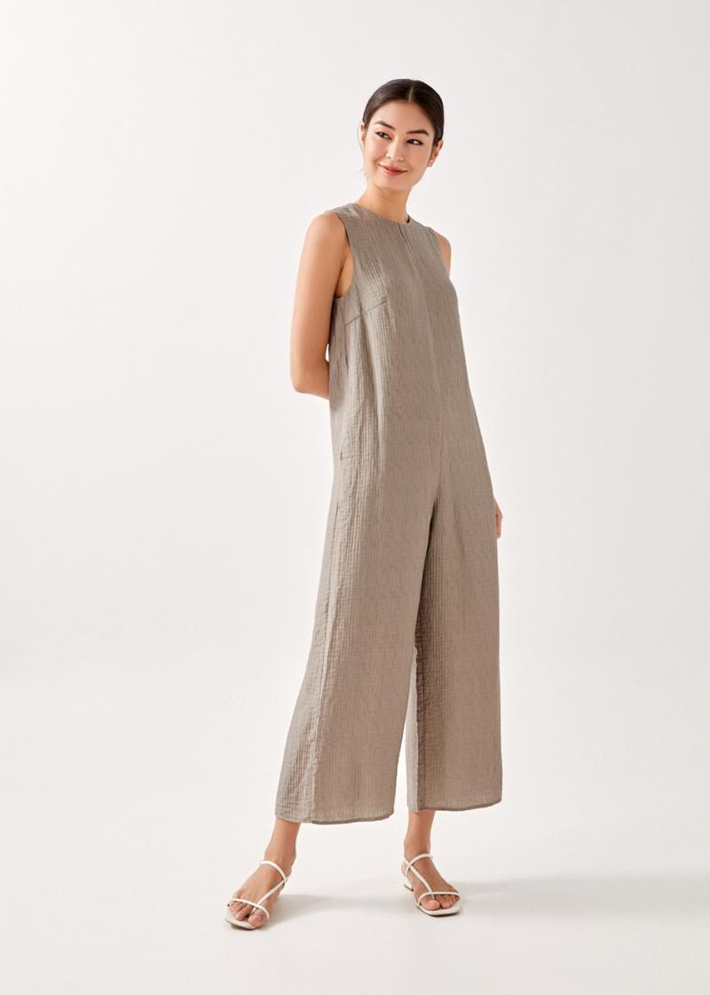 Yovera Textured Relaxed Midaxi Jumpsuit