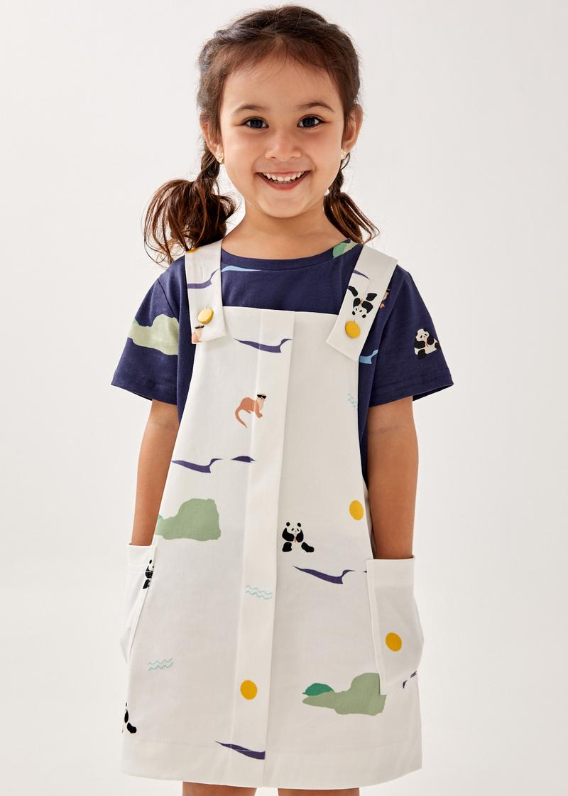 Quinny Cotton Twill Dungaree Dress in Summer Seascape