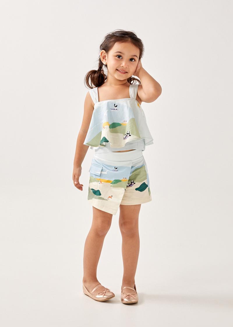 Arissa Linen Flounce Top in Summer Seascape