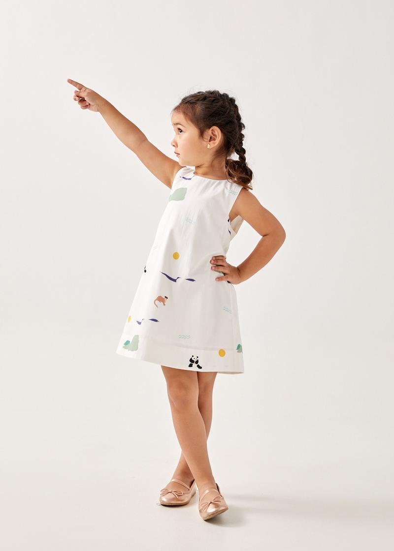 Lydie Poplin Shift Dress in Summer Seascape