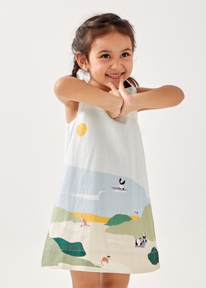 Edara Linen Shift Dress in Summer Seascape