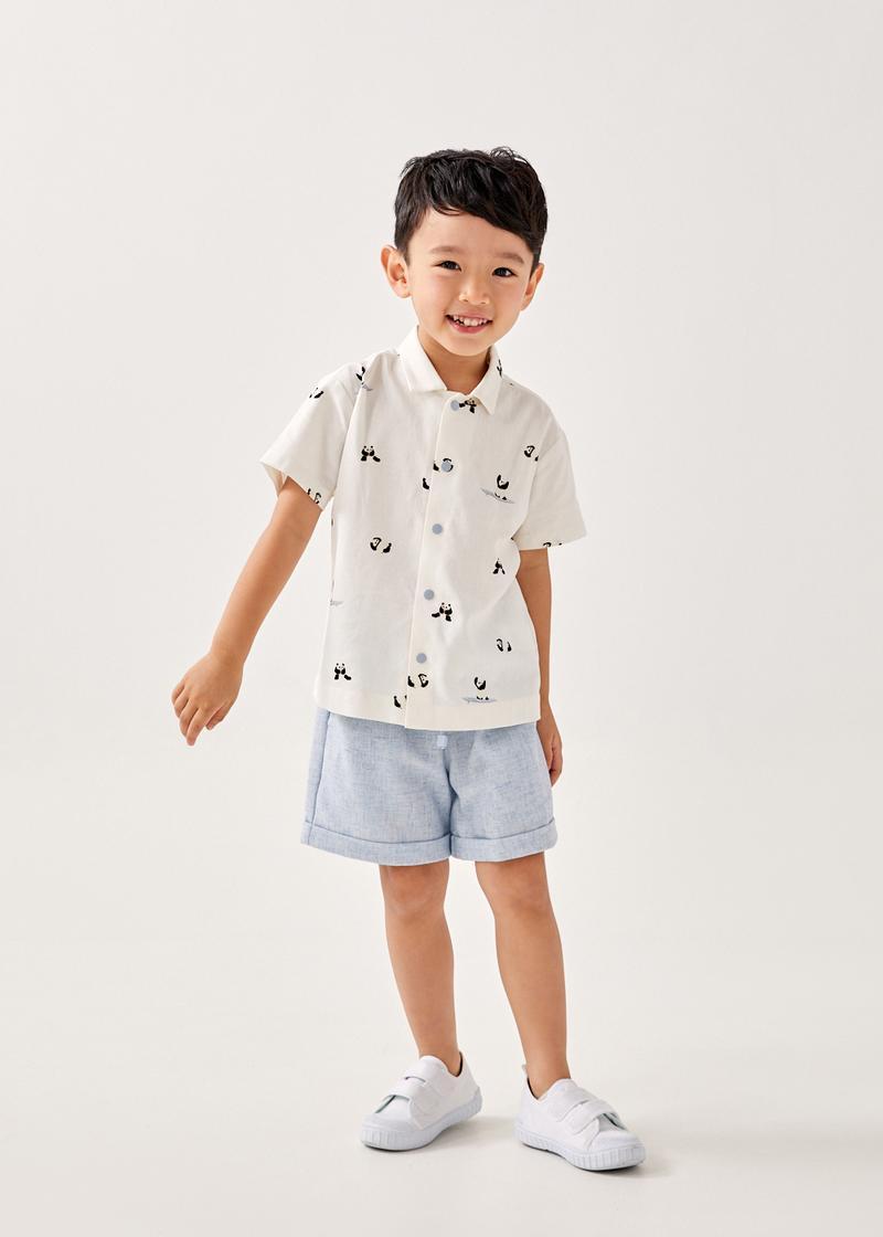 Rayven Linen Button Down Unisex Shirt in Summer Seascape