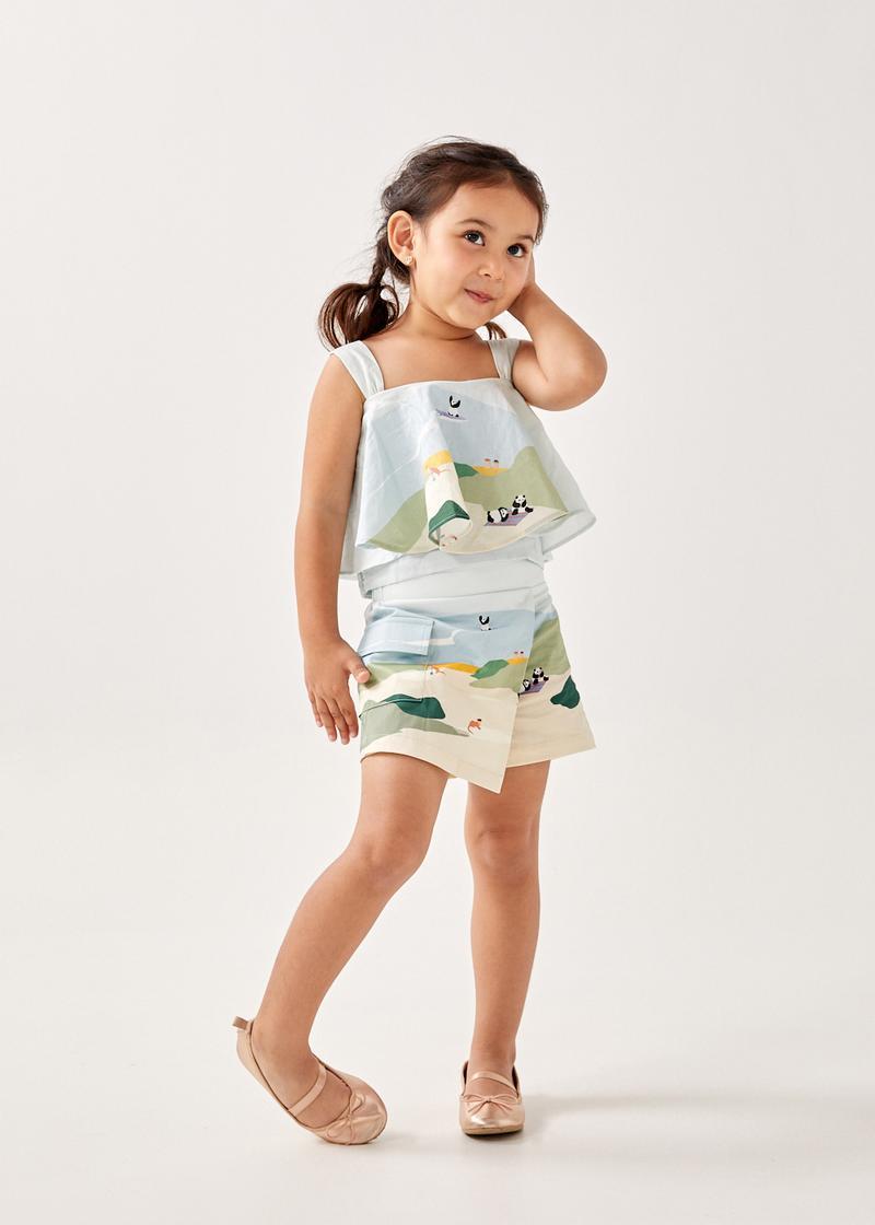 Pera Poplin Elastic Waist Skorts in Summer Seascape