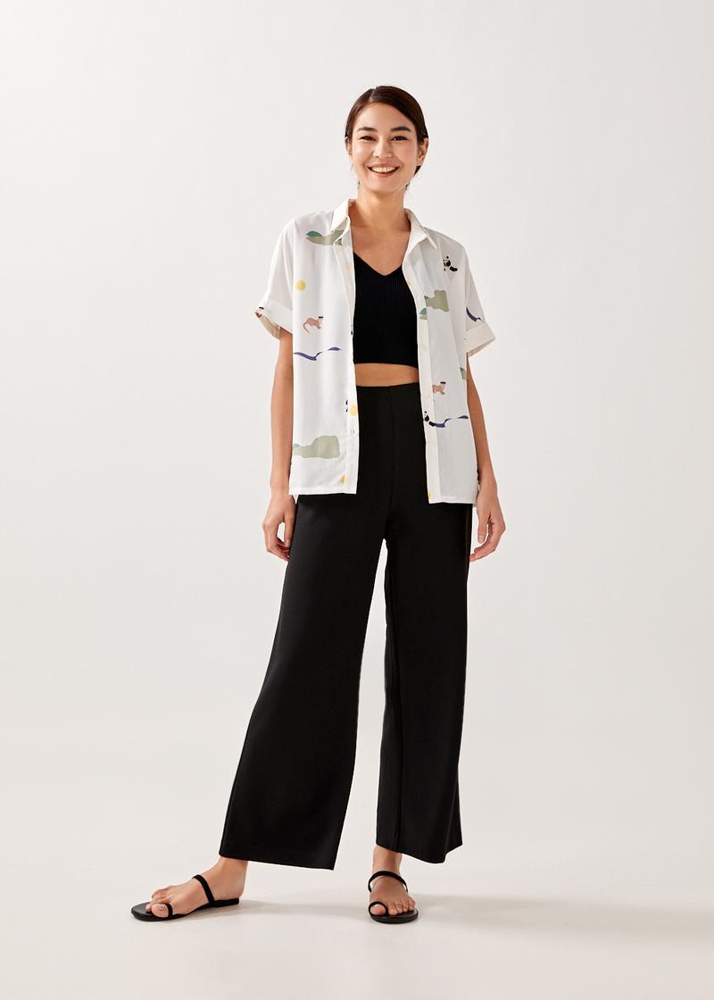 Veeda Cuffed Shirt in Summer Seascape