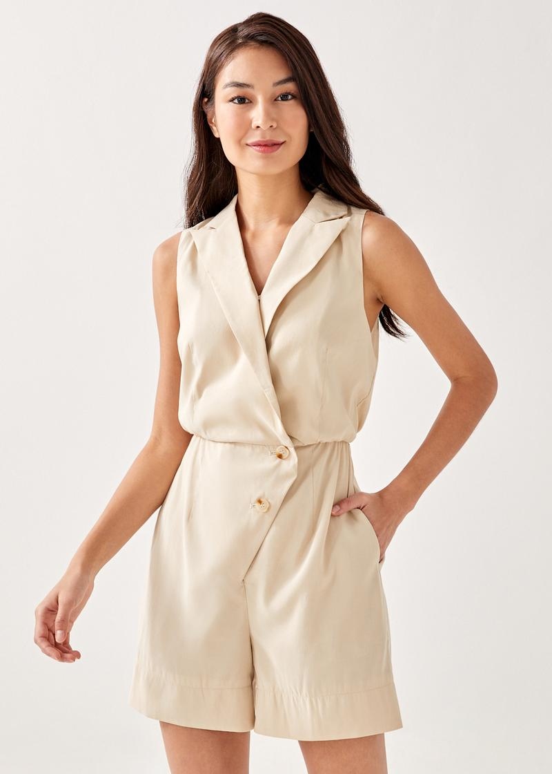 Maddy Button Detail Overlay Romper