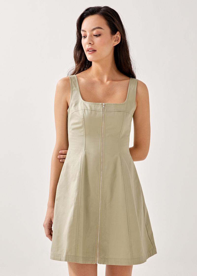Julissa Square Neck Zip Front Dress