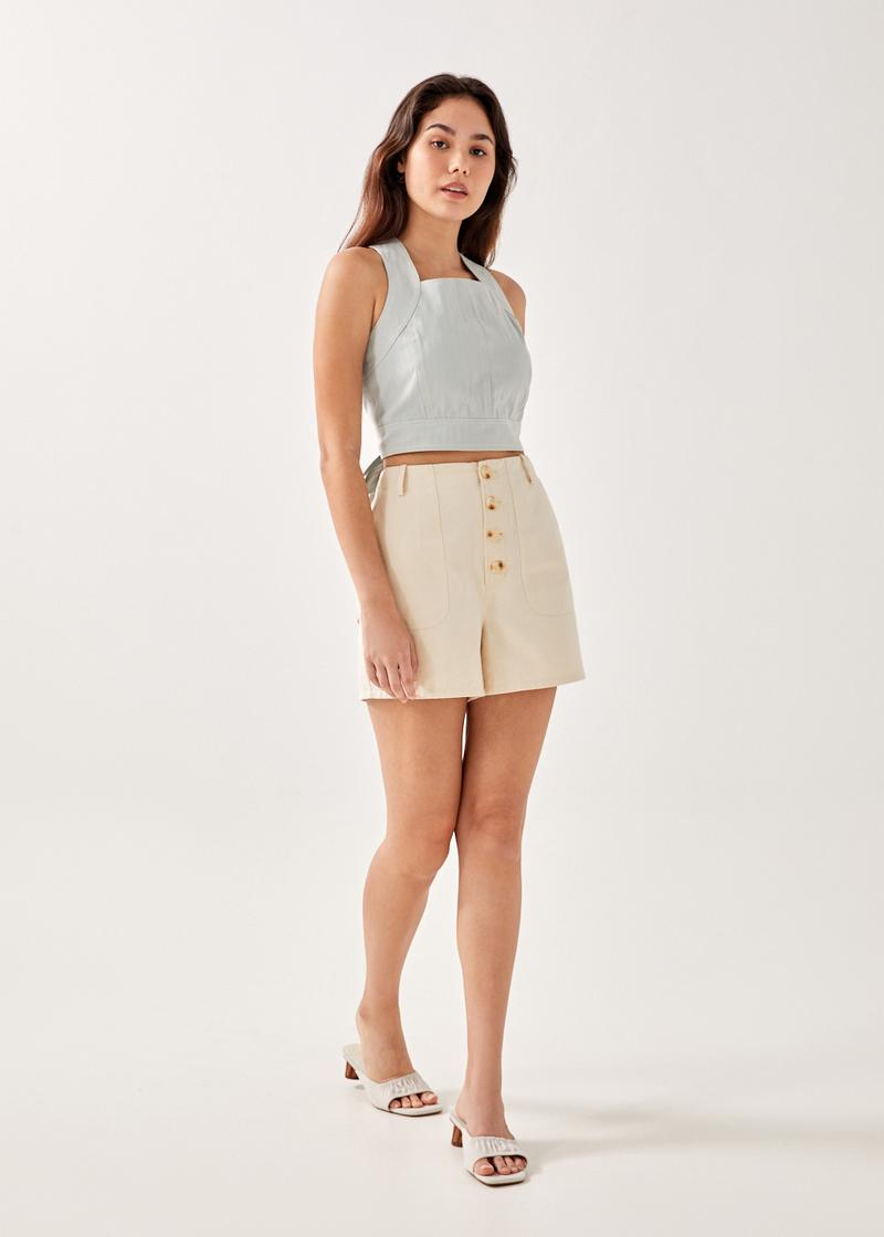 Suzette Button Down Twill Shorts