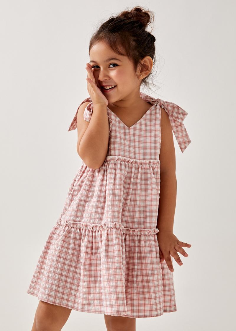 Issoria Tiered Gingham Dress